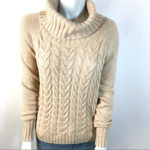 BANANA REPUBLIC Tan Cowl Neck Cable Knit Sweater